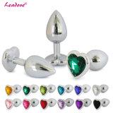 Grande taille en acier inoxydable en forme de coeur bijoux Crystal butt plug anal anal sex toys