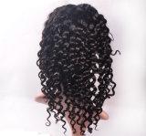 Das mulheres profundas de seda brasileiras da onda do laço do cabelo humano de preço de fábrica peruca cheia do laço