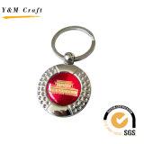 에폭시 스티커 (Y02383)를 가진 둥근 다이아몬드 금속 열쇠 고리