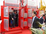 Prédio de Compartimento Duplo de passageiros de elevação guincho para passageiros e de material de construção, Guindaste de construção