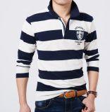 Overhemd van het Polo van de Koker van marineblauwe en Witte Gestreepte Mensen het Lange met het Embleem van de Douane