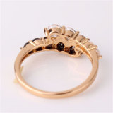 Gold-Color белый и черный кристаллов CZ включение любовь кольцо