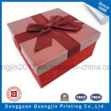Papel de color rosa caja de regalo de cartón rígido con decoración Bowknot