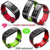 IP68 делают пригодность водостотьким отслеживая браслет Q8 Bluetooth Wristband франтовской