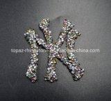 3D Hotfix 주제 모조 다이아몬드 Ny 높은 빛나는 편지는 패턴에 철을 깁는다