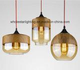 De elegante Lamp van de Tegenhanger van het Glas met Hout eindigt (whp-0149)