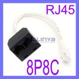 Séparateur de RJ45 femelle 1 mâle à 2 Sockets doubleur Adaptateur Kit Poe de commutateur Câble réseau Cat5e
