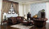 最上質のブラウンカラー型のチェスターフィールドの革ソファーのホーム家具