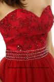 Une ligne Appliques Sweetheart Mini robe de cocktail Organza perlé Prom
