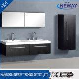 シンプルな設計のメラミン二重流しの壁に取り付けられた浴室用キャビネット