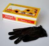 Черная перчатка винила с напудрено или порошок свободно