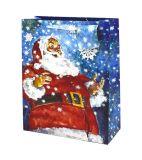 Sacs en papier de cadeau de Noël avec paillettes et feuilles de timbres, de Papier de cadeau Sac, Sac en papier kraft