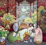 Tela di canapa del cotone di arte di Giclee di alta qualità/ragazze domestiche basse di seta della pittura della decorazione 50*50cm
