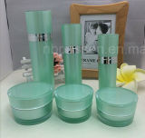 緑のアクリルのプラスチック装飾的な包装のびんか瓶(PPC-CPS-026)