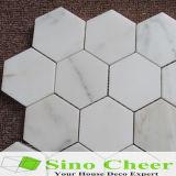 La mosaïque Polished de pierre de mosaïque d'hexagone de Calacatta d'or de qualité