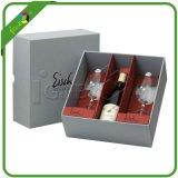 Vakje van de Fles van de Wijn van Champagne van het Glaswerk van de Gift van het Document van het Karton van het Ontwerp van de Douane van het Merk van de luxe het Verpakkende met Houder