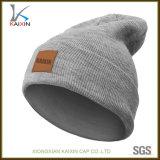 Cappello del Beanie lavorato a maglia zona di cuoio normale all'ingrosso