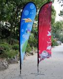 高品質の単一の側面2.8cmの高い涙浜の旗のフラグ