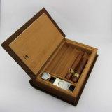 Humidificateur de cigarette de support de cigare rayé par cèdre en cuir de type de livre de Cohiba Brown avec le coupeur (ES-EB-031)