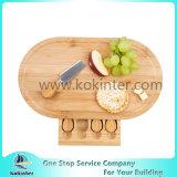 La FDA/plateau de fromages de bambou LFGB & Ensemble de couteaux avec tiroir coulissant