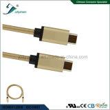 Tête mâle d'USB3.1 C Matel avec le câble de remplissage de tresse en nylon de chemise