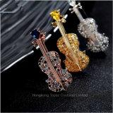 Monili femminili di personalità della Tutto-Corrispondenza di Pin del violino del Brooch del Rhinestone del vestito delle donne di Broche dei Brooches di promozione (BR-06)