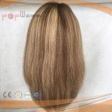 100 % perruque de cheveux humains Haut de la soie (PPG-L-0401)