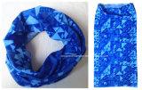 Le produit d'usine a personnalisé le Bandana sans joint tubulaire bleu de logo de polyester blanc d'impression