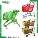 普及した様式のスーパーマーケットの多彩なプラスチック金属の買物車