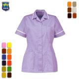 Uniforme de enfermera de la moda mujer de algodón azul traje de personal de enfermera médica