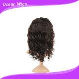 100% de la Virgen de la India Remy Cabello pelucas de encaje completo del Cuerpo Suizo de 12 pulgadas de onda de encaje peluca con el cabello del bebé