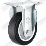 Mittleres Aufgabe PU-Gewinde-Stamm-Fußrollen-Rad mit seitlicher Bremse (Schwarzes) (einzelne Peilung) (G3214)