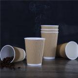 뚜껑을%s 가진 개인화된 처분할 수 있는 잔물결 벽 종이 커피 잔