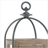 Lanterna afflitta della colonna del metallo e di legno con l'inserto di vetro