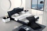 Ledernes Bett-modernes echtes Leder-weiches Bett (SBT-5830)