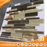 スーパーマーケットの卸し売りブラウンカラーStrpガラスおよびアルミニウムモザイク(M855330)