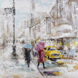 Pure Handmade Street Scenes Oil Painting one Canvas for Home Decoration