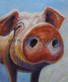 La peinture décorative de haute qualité sur toile de porc rose pour la décoration murale