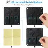 3 Gang Marine Illuminated Toggle Rocker Switch Panel Waterproof Ignition LED Light Dual Switch with 3.1A UNIVERSAL SYSTEM BUS To charge Cigarette Lighter Socket for Because Boat Vehic