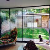 El interior o exterior puerta corrediza de vidrio templado de aluminio
