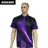 Camisa de polo púrpura sublimada alta calidad al por mayor del ajuste del golf seco de los hombres