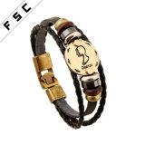 Horoskop-Tierkreis-Zeichenhandgemachte Mens-Leder-Konstellation-Armbänder des Großverkauf-12