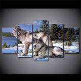5 طبع [بيس كنفس] فنية صورة زيتيّة [وولفس] في الثلج شتاء جدار فنية طبعة نوع خيش صورة زيتيّة منزل زخرفة لأنّ يعيش غرفة