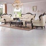 Wohnzimmer-ledernes Sofa mit hölzernem Tisch für Hauptmöbel