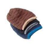 Chapeau de patinage de ski de Beanies tricoté parhiver chaud de chapeaux réversibles de Double couche de Mens (HW402)