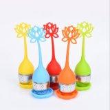 Nuevo diseño de color caramelo de silicona de grado alimentario filtro té Colador de té