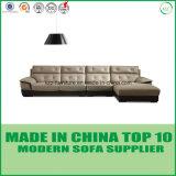 Sofá de madera de Loveseats del cuero moderno de la sala de estar