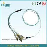 Asambleas de cable de la corrección de la fibra de MTP/MPO para la solución multifibra con una densidad portuaria más alta