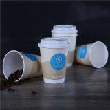 SGS сертифицированы Изолированные двойные стенки чашки кофе бумаги с крышкой
