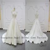 Eindeutiger Satin mit Blumen-Spitze-Hochzeits-Kleid